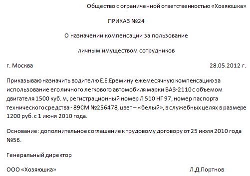 Компенсация за ГСМ при использовании личного автомобиля 2020 году